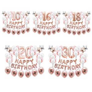 Geburtstag Deko Set - Happy Birthday + Zahlen + Konfetti Luftballons -wählbar