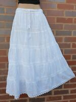 White Cotton Lace Maxi Skirt EMBROIDERED 5 Tier Lined 8 10 12 14 16 18 20 22 24