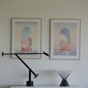 Pair of 1980s Alfred Gockel signed titled prints German Post Modernist Art