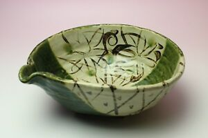 Oribe ware Pottery Footed Bowl w Pour Spout Hand Painted Green Glaze Stoneware