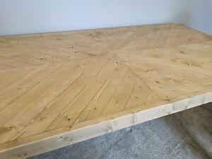 HERRINGBONE 125x45cm Handmade Studio Desk or Table & Industrial Hairpin Legs