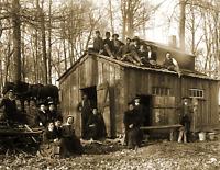 """1910 Group at a Sugaring Shack Vintage Old Photo 8.5"""" x 11"""" Reprint"""