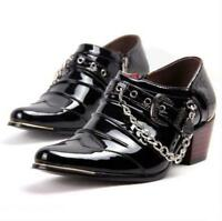 British mens pointy toe buckle strap chain chelsea heel gothic dress shoes