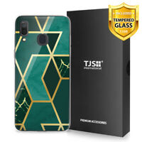 For Samsung Galaxy A20 A30 Phone Case TJS Juno Dark Green Marble +Tempered Glass
