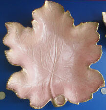 Vintage California Original Pottery Large Pink Ceramic Maple leaf Platter Bowl