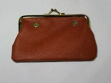 Vintage Brown Leather Kuang Huei Snap Closure Coin Purse ~ Snaps onto purse