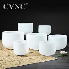 "CVNC 432Hz 6""-12"" 7 PCS Crystal Singing Bowls Chakra Set Frosted Quartz Mallets"
