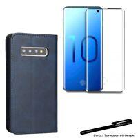 Etui portefeuille Bleu pour Samsung S10e Housse protection +Verre trempé 3D Noir