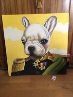 Huile sur toile « le Chien en uniforme »  tableau signé ..