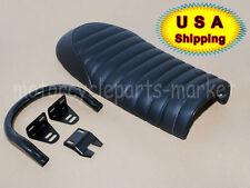 """Upswept Black Seat Cafe Racer Vintage Saddle w/Frame Hoop 1"""" Seat Loop 230mm USA"""
