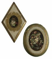 Vintage Italian Florentine Wood Wall Plaque Victorian Floral Oval Diamond Shape