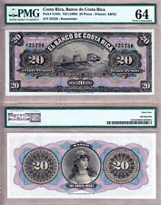 Gorgeous Pair of Notes: Costa Rica 1899 10 & 20 Pesos PMG Certified CHOICE UNC64