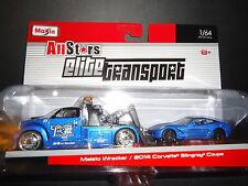 MAISTO WRECKER et Chevrolet Corvette Stingray 2014 bleu 1/64