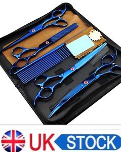 7'' Pet Hair Scissors Tool Dog Grooming Cutting Thinning Curved Shears Comb Kit