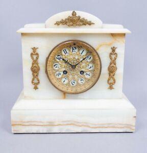 Fine 19Thc French J. Marti Gilt Decorated Onyx Mantel Clock Running