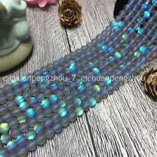 Natural 6mm White Gleamy Rainbow Moonstone Round Gems Loose Beads 15/'/' PL583