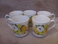 Vintage Johnson Bros Kerrydale Snowhite 5 Cups Retro Flowers EUC