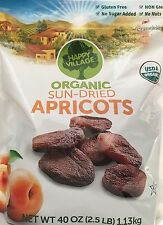 80oz Happy Village Organic Unsulphured Sun-Dried Apricots 2 Packs 40oz Each GF