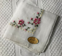 Vintage NWT Cotton Embroidered Handkerchief PINK ROSES Switzerland 10 1/2""
