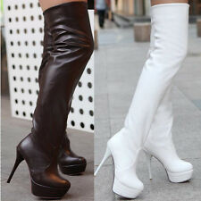 Women Sexy Pull on High heels Thigh Platform Over The Knee Boots Size US4.5-8.5