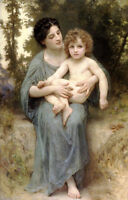 Beautiful Oil painting Bouguereau - Young mother with Little brother in forest