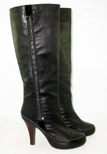 Black Leather 7.5 Rhinestones Knee High Pull On Biker Steampunk Posh Goth Dancer