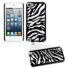 Black Zebra White Skin Fusion Dual Layer Apple ipod Touch 5 5G Hybrid Cover Case