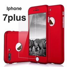 Iphone 7plus 360 Hybrid Full body case and Tempered Glass Screen Protector - Red