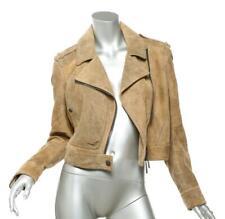 BURBERRY Brown & Black Crackle Lambskin Suede Leather Moto Jacket Coat US2 IT38