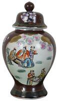 """Vintage Japanese Imari Lidded Porcelain Ginger Jar Urn Vase Painted Scenes 13"""""""