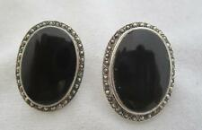 "VINTAGE PAI STERLING SILVER ONYX CABOCHON & MARCASSITE 1 1/8"" BY 3/4"" EARRINGS"