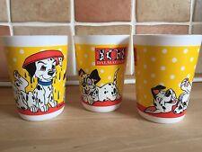 3 Vintage Disney 101 Dalmatians Milk Glass Cups