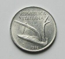 1972 R ITALY Aluminum Coin - 10 Lire - toned-lustre - historic farm plow