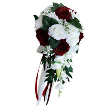 Wedding Bride Waterfall Hand Bouquet Fake Rose Hand Flower White+Wine Red
