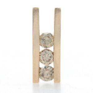 Yellow Gold Diamond Three-Stone Pendant 14k Round Brilliant .50ctw Journey