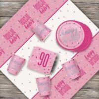 Pink Glitz 90th Birthday Party Supplies Decorations (Confetti Strings Napkins)