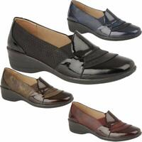 New Ladies Womens Padded Low Wedge Slip On Patent Formal Casual Walking Shoes