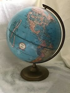 VINTAGE DESK TOP CRAM'S IMPERIAL WORLD ROTATING GLOBE ON METAL BASE—GREAT COLOUR