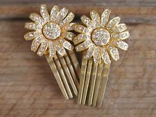 VINTAGE HAIR ACCESSORY SET 2 FLIP HINGED CLIP COMB GOLD RHINESTONE FRENCH PASTE