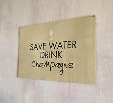Ahorrar agua, copa de cava Vintage impresión signo A4 Placa De Metal