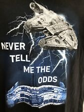 """Big Graphic Star Wars """"Never Tell Me the Odds Cubs Wrigley Field Black XL Shirt"""