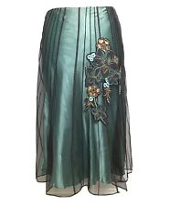 Coast jade green skirt sz 14 sheer lace embroidered evening party occasion aline