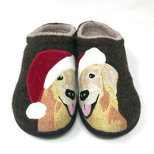 LL Bean Daybreak Scuffs Golden Retriever Santa Wool Felt Slippers Womens Size 8M