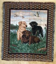 "Labrador Retrievers Duck Hunting 3 Dogs Tapestry Throw Blanket 50"" x 58"" Euc"
