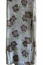 100% Exclusive soft Cashmere off white printed Shawl/Scarf Hand Made in Nepal