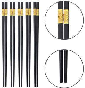 5 Pairs Premium Quality Plastic Chinese Japanese black gold Chopsticks Xmas gift