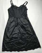 Vintage Wonder Maid Black Full Slip Size 34 Nylon Lace Trim Womens