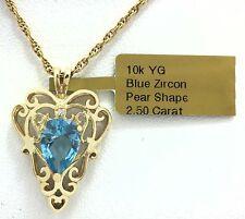 BLUE ZIRCON 2.50 Cts & DIAMOND FILIGREE 10k Yellow Gold PENDANT *FREE Shipping