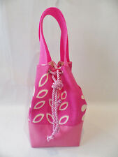 Unique Handmade Dainty Bucket Bag Fully Lined with Drawstring Closure PINK