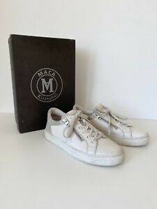 Maca Kitzbuhel White Leather Lace-Up Sneakers - Size 38 (Fit Size 7 to 7.5)